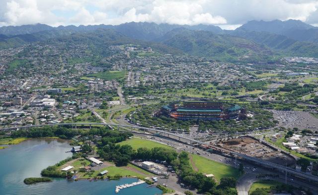 Aloha Stadium aerial Aiea HART Rail aerial.