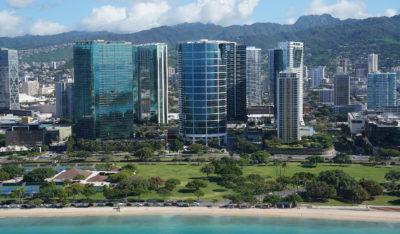 Hokua Naru Towers Kakaako Condominiums Ala Moana Beach Park aerial.