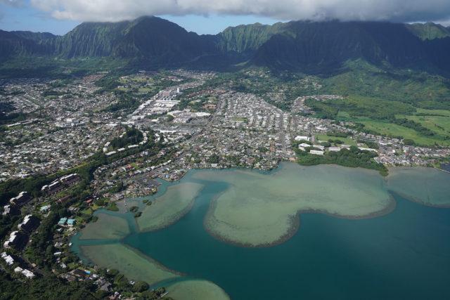 Kaneohe Bay Kaneohe Windward Oahu aerial.