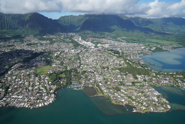Kaneoha Bay Kaneohe Windward Oahu aerial.