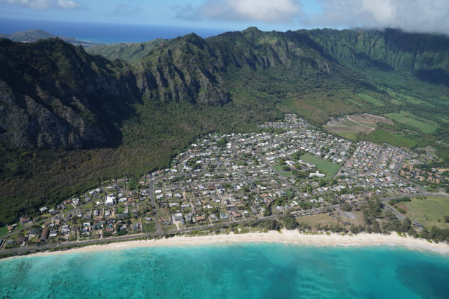 Waimanalo Agriculture land Koolau Mountains Aerial.