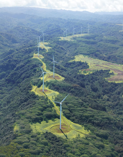 North Shore Oahu Windmills Alternative Energy windmill above Waimea Agriculture Aerial.