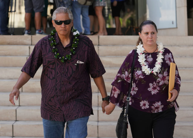 Retired HPD Chief Louis Kealoha Katherine Kealoha leave District Court.