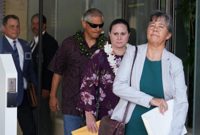 Retired HPD Chief Louis Kealoha Katherine Kealoha leave District Court.