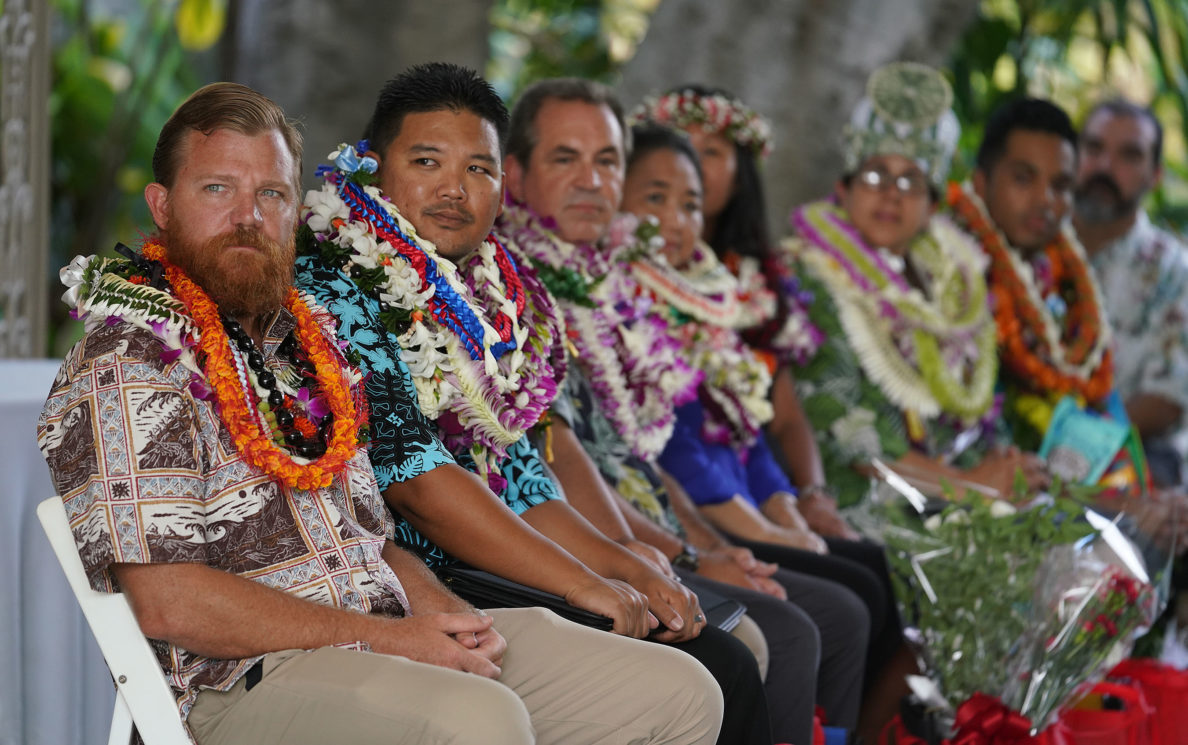 SEEQS Teacher Shane Albritton during Teacher of the Year 2018 announcement held at Washington Place and hosted by Gov Ige.