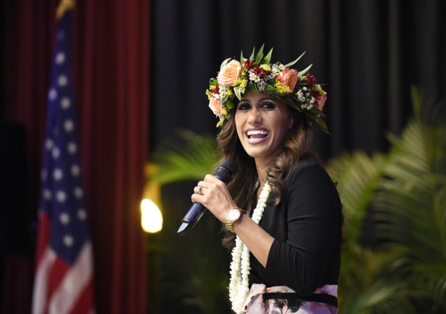 Andria Tupola Republican candidate for Hawaii governor greets campaign staff and volunteers in Honolulu, Hawaii. on Tuesday, Nov. 6, 2018. (Photo by Ronen Zilberman