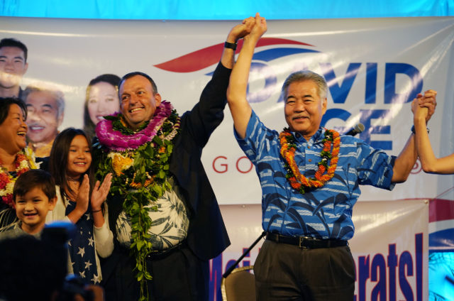 Governor David Ige and LG elect Josh Green take the stage after the first print out at Dole Cannery ballrroom.