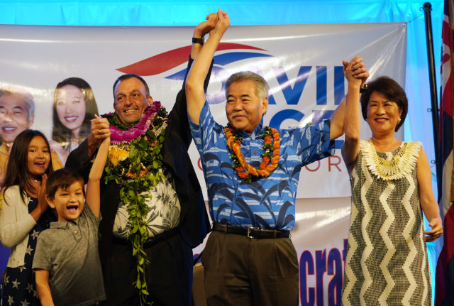 Governor David Ige and LG elect Josh Green with First Lady Dawn Amano Ige at Dole Cannery ballroom.