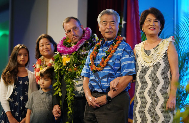 Governor David Ige with First Lady Dawn Amano Ige LG elect Josh Green at the Dole Cannery.