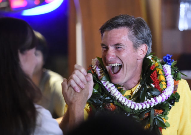 City Council District IV seat. Tommy Waters celebrate in Honolulu, Hawaii. on Tuesday, Nov. 6, 2018. (Photo by Ronen Zilberman