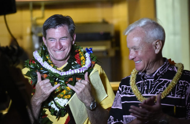 City Council District IV seat. Tommy Waters (left) and Honolulu Mayor Kirk Caldwell in Honolulu, Hawaii. on Tuesday, Nov. 6, 2018. (Photo by Ronen Zilberman