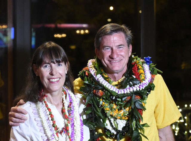 City Council District IV seat. Tommy Waters (right) and Natalie Iwasa in Honolulu, Hawaii. on Tuesday, Nov. 6, 2018. (Photo by Ronen Zilberman