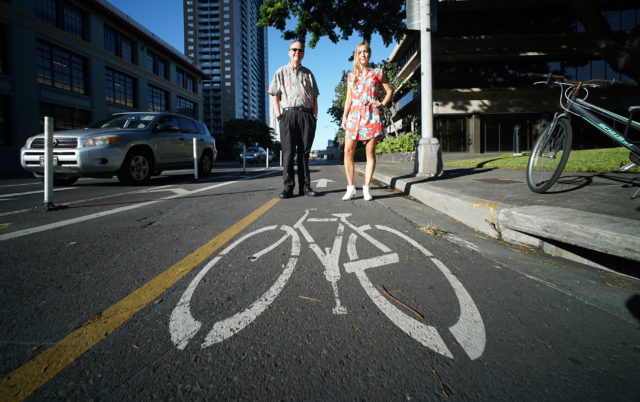 Left, Harrison Rue Community Building and TOD Admin at the City and County of Honolulu with Nicola Szibbo, Regional Planning stands along the South Street bike path.