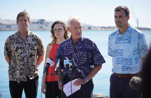 From Mayors release. Mayor Kirk Caldwell responds to the Fourth National Climate Assessment with right, Chief Resilience Officer Josh Stanbro, far left, Honolulu Climate Change Commission Vice Chair Dr. Chip Fletcher, who is one of the authors of the Hawaiʻi and U.S.-Affiliated Pacific Islands chapter of the report, and Honolulu Climate Change Commission Member Dr. Victoria Keener, who serves as the NCA Chapter Lead. The Assessment, released last Friday by 13 federal agencies including NOAA, details a multitude of current and future impacts of climate change in Hawaiʻi and the broader U.S