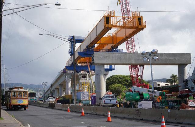 HART rail progresses near the Aloha Stadium Arizona Memorial.