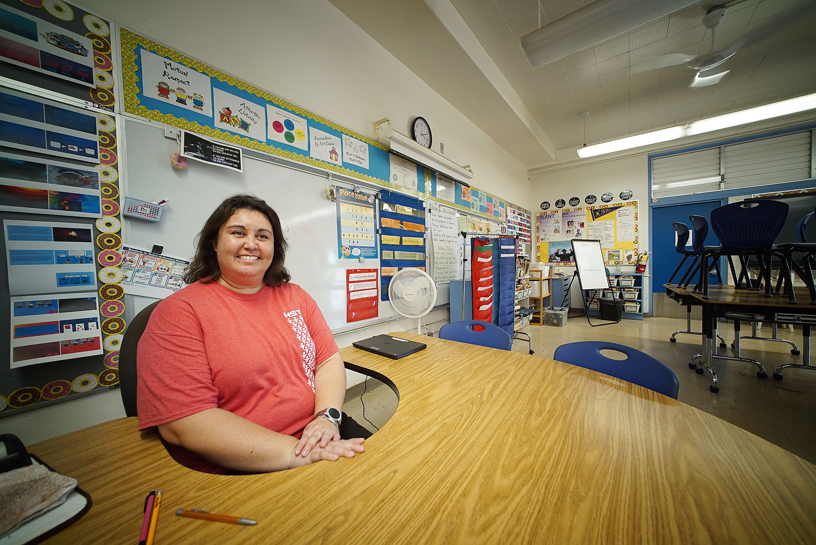 Pearl Harbor Kai Elementary 6th grade teacher Leilani Frazier in her classroom after school.