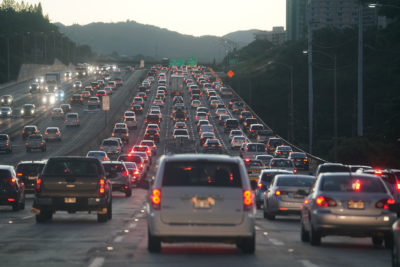 Approaching Aiea Eastbound early morning commute traffic.