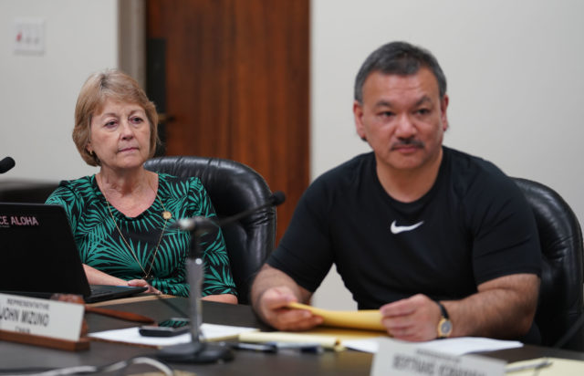 Sen Rosalyn Baker Rep John Mizuno during carehome hearing held the Captiol, room 325.