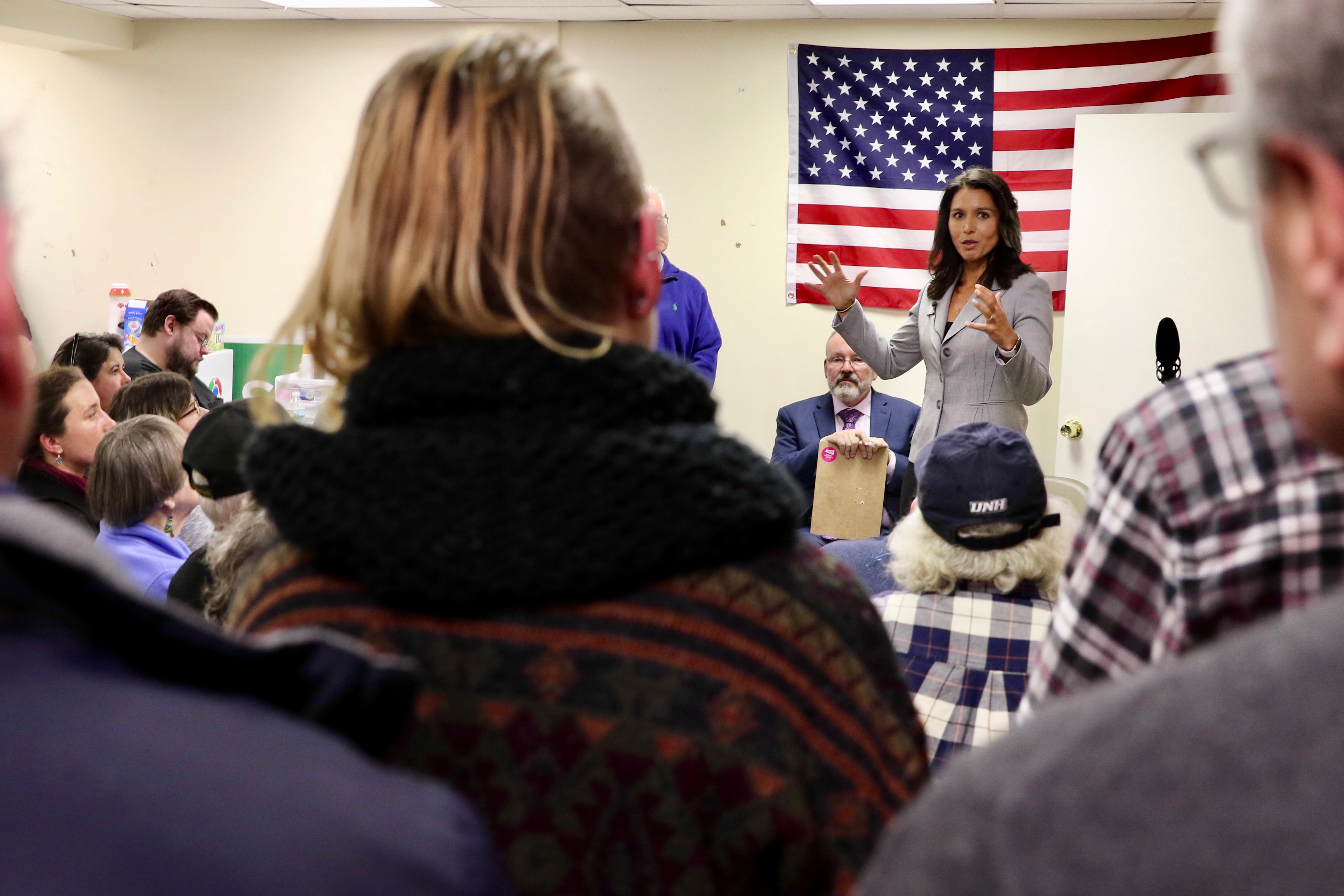 <p><strong>PRESIDENTIAL AMBITION:</strong> By year&#8217;s end, Hawaii Congresswoman Tulsi Gabbard was one of many Democrats testing the waters for a possible presidential bid in 2020. She spoke at this gathering in New Hampshire in December and also visited Vermont and Iowa.</p>