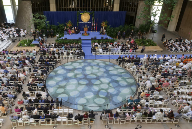 Hawaii Govenor David Ige addresses the crowd during his inaugural ceremony for his second term of service at the state capitol in Honolulu, HI, Monday, December 3, 2018. (Civil Beat photo Ronen Zilberman)