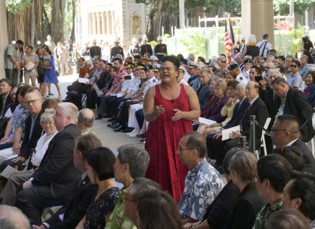 Oli Kaumakaiwa Kanakaole chant Hawaii Govenor David Ige during Hawaii Govenor David Ige inaugural ceremony for his second term of service at the state capitol in Honolulu, HI, Monday, December 3, 2018. (Civil Beat photo Ronen Zilberman)