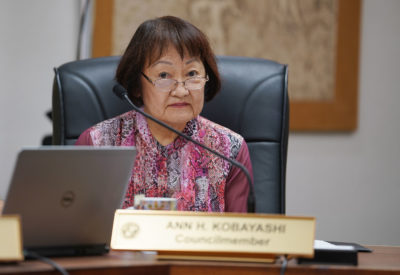City Councilmember Ann Kobayashi during housing/homeless committee meeting.