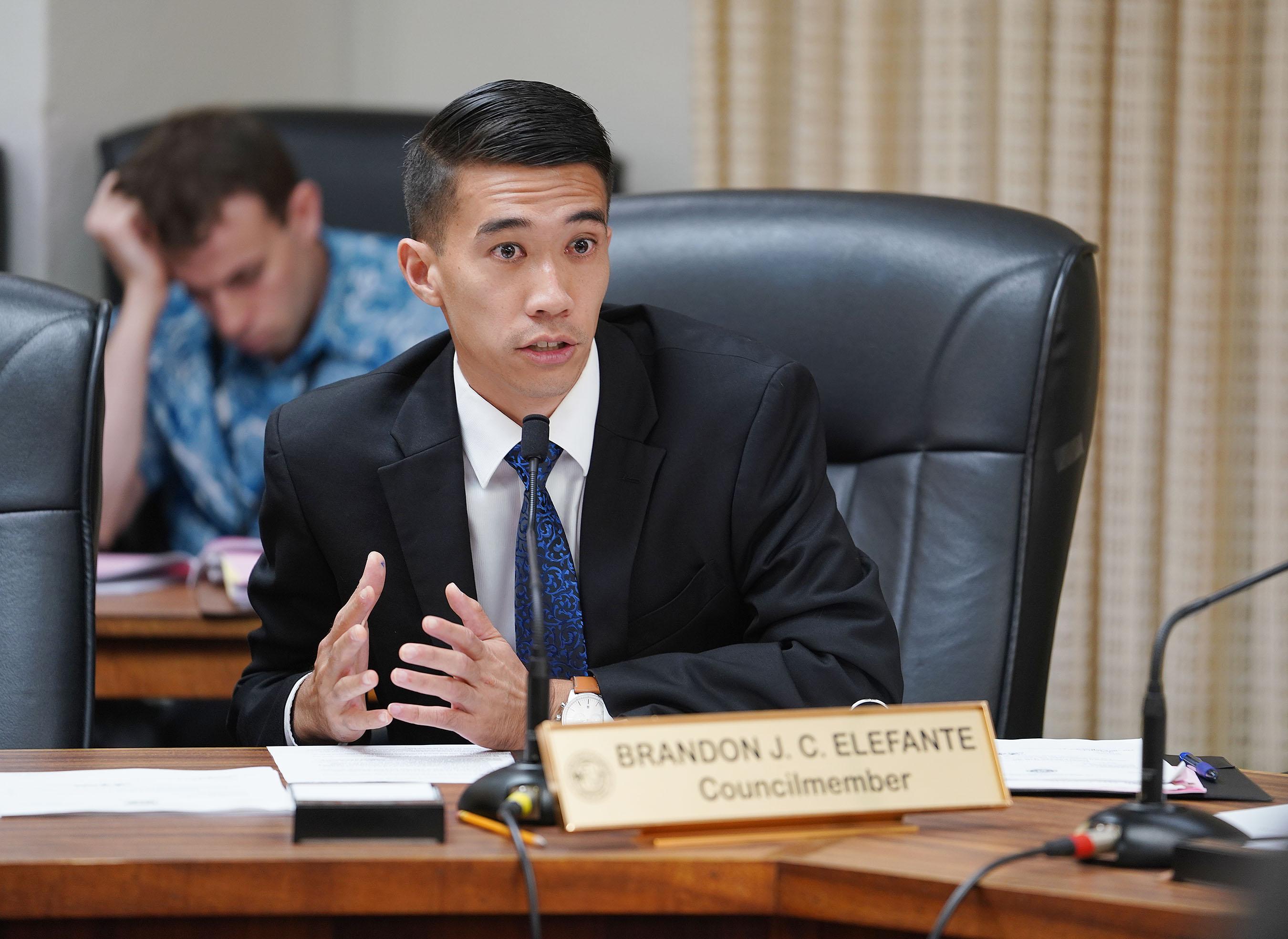 Councilmember Brandon Elefante during housing homeless committee mtg.