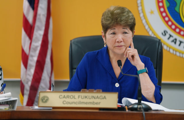 Councilmember Carol Fukunaga during meeting with other city officials / HPD and housing director Marc Alexander at Honolulu Hale.