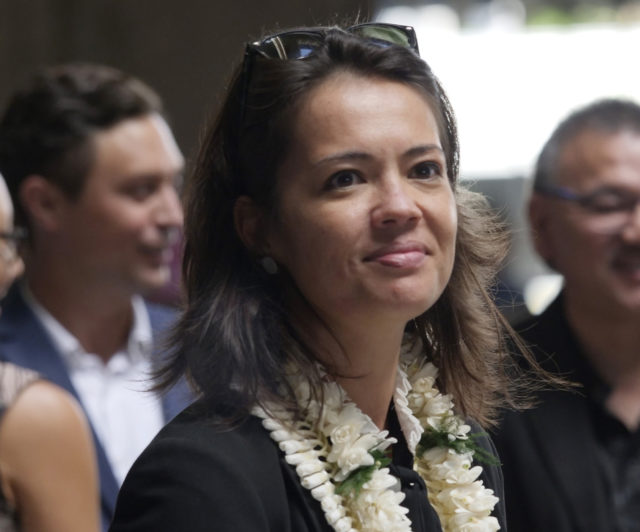 Brooke Wilson, the new Lt. Gov. Chief of Staff smiles for the camera before the inauguration ceremony at the state capitol, in Honolulu, HI on Monday, December 3, 2018. (Civil Beat photo Ronen Zilberman)