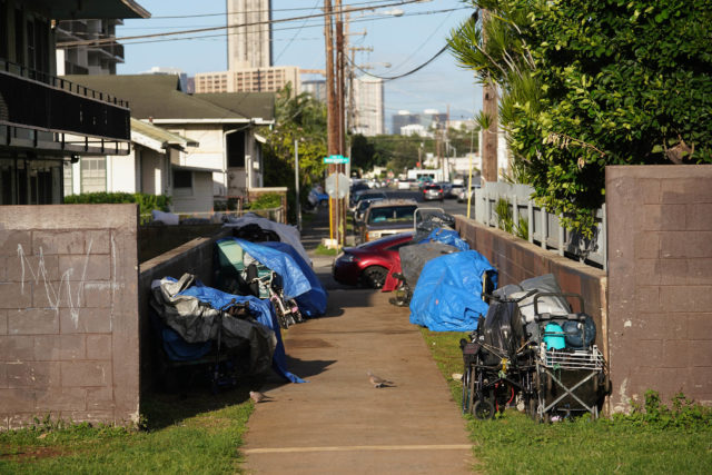 Old Stadium Park walkway Homeless tents.