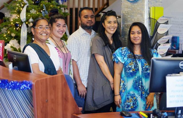 Left to Right. Innocenta Sound-Kikku, Wehana Angan, Anthony Kolios, Megan Inada and right, Rosadelima Kaminanga at Kokua Kalihi Valley.