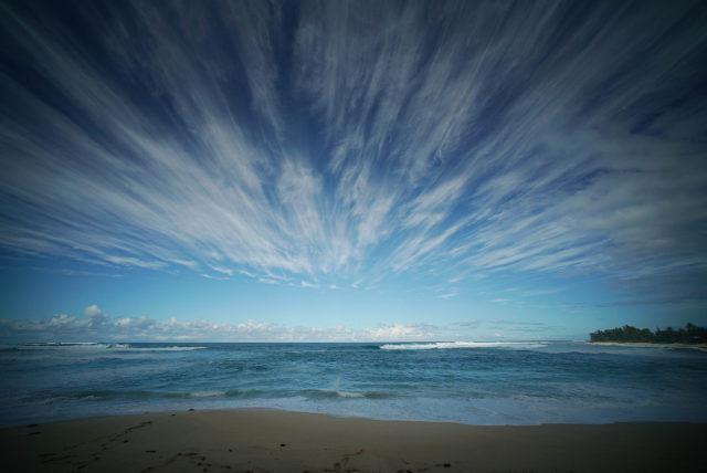 Ehukai Beach clouds during winter 2018 ocean sea level rise.