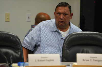 Senator Kurt Fevella during WAM committee meeting listening to UH VP of Budget and finance preliminary meeting with WAM.