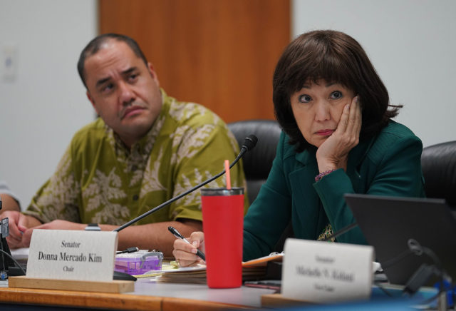 WAM Chair Sen Donna Mercado Kim as she listens to UH VP of Budget and Finance Kalbert Young during presentation to the WAM committee.