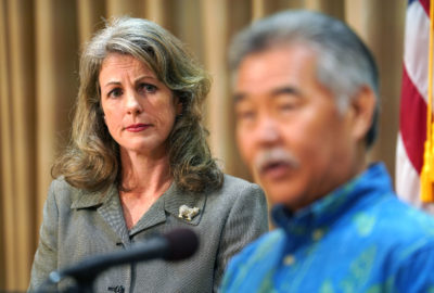 Clare Connors Interim Attorney General presser with Gov Ige at the Capitol.