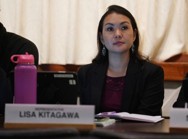 Representative Lisa Kitagawa during joint WAM FInance info meeting.