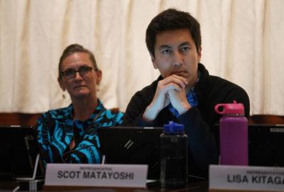 Representative Scot Matayoshi listens during joint WAM Finance info meeting held at the Capitol Auditorium.