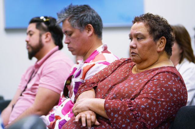 Office of Hawaiian Affairs OHA board member Colette Machado listens during a Finance Meeting at the Capitol.