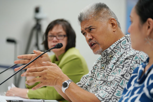 OHA Ka Pouhana Kamanaopono Crabbe during Finance Meeting held at the Capitol.