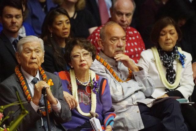 Governor George Ariyoshi Jean Governor John Waihee listen to Speaker Saiki on the opening day of the 2019 legislature.