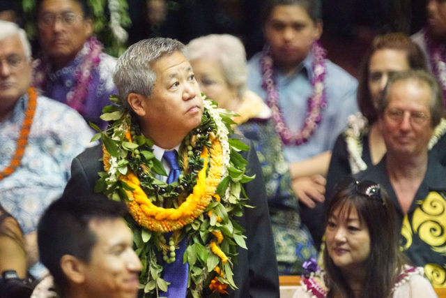 Speaker Scott Saiki looks out to the gallery on the opening day of the legislature.