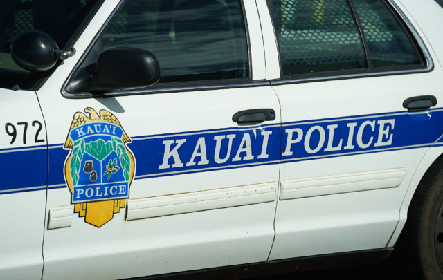 Kauai Police Dept signage on police vehicle.