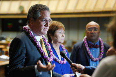 Senator J Kalani English and Sen Kidani presser after the Governor Ige State of State address.