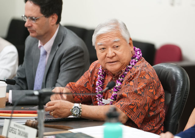 Chair Senator Clarence Nishihara on legislative briefing on prisons.