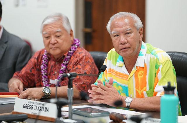 Rep Gregg Takayama during leg briefing on prisons.