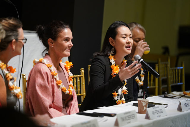 Rep Lisa Kitagawa speaks during the 2019 Hawaii Womens Legislative Caucus Breakfast held at the YWCA.