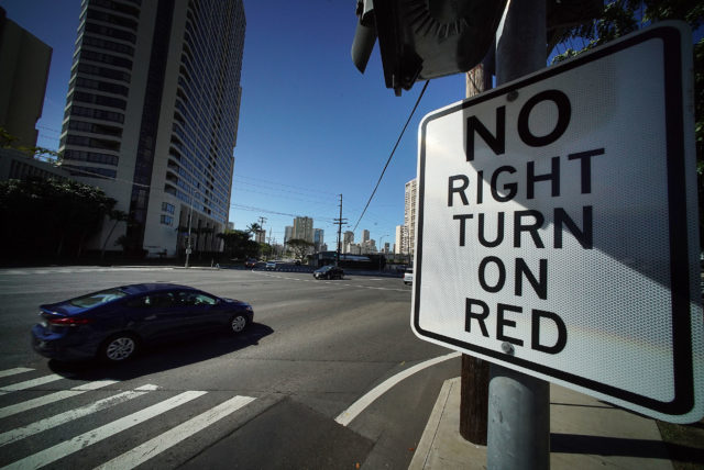 No Right Turn on Red sign at Date Kapiolani Blvd intersection.