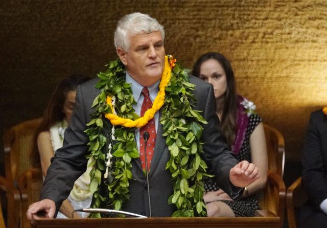 Supreme Court Chief Justice Mark Recktenwald speaks at the legislature.
