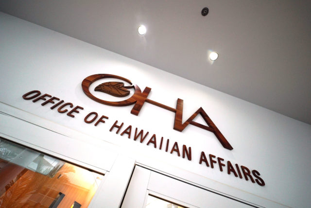 OHA Office of Hawaiian Affairs signage.