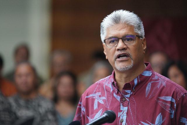 OHA Ka Pouhana Kamanaopono Crabbe speaks during press conference on recent assault at OHA.